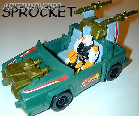 Transformers Generation 1 Sprocket (Action Master) with Attack Cruiser toy