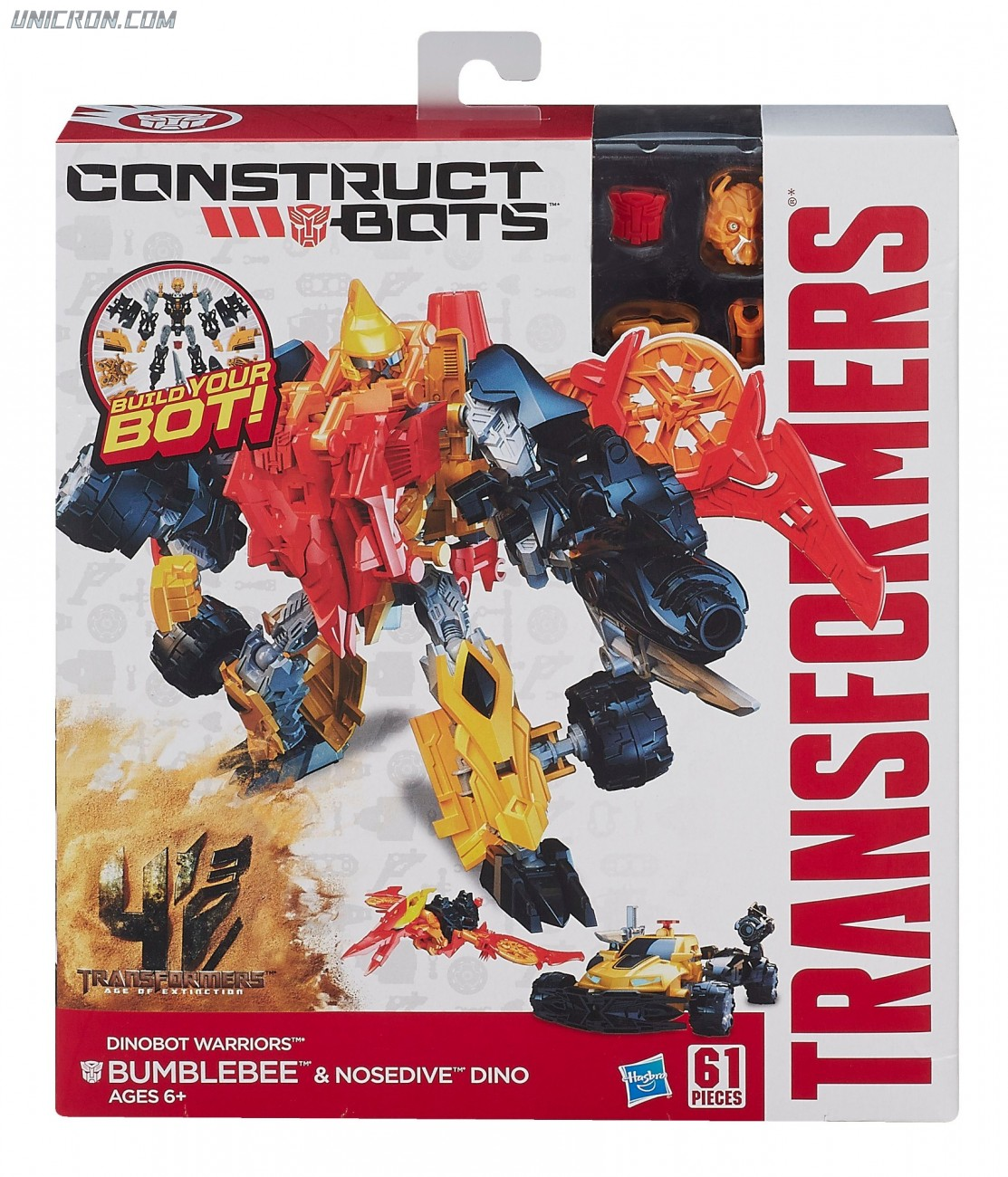 Transformers Construct-Bots Bumblebee with Nosedive- Construct-Bots Dinobot Warriors toy