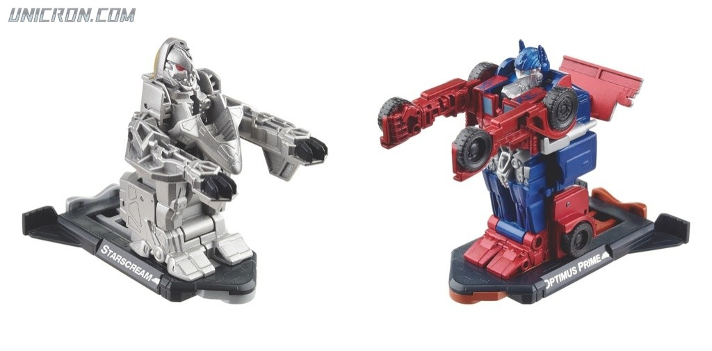 Transformers 3 Dark of the Moon Starscream vs Optimus Prime (Robo Power Bash Bots) toy